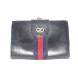Gucci Navy Blue Leather with Red and Navy Sherry